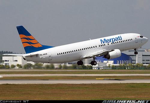 Pesawat merpati airlines lepas landas