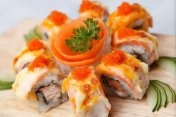 Pacific Roll Salmon Mayo Toped with tobiko